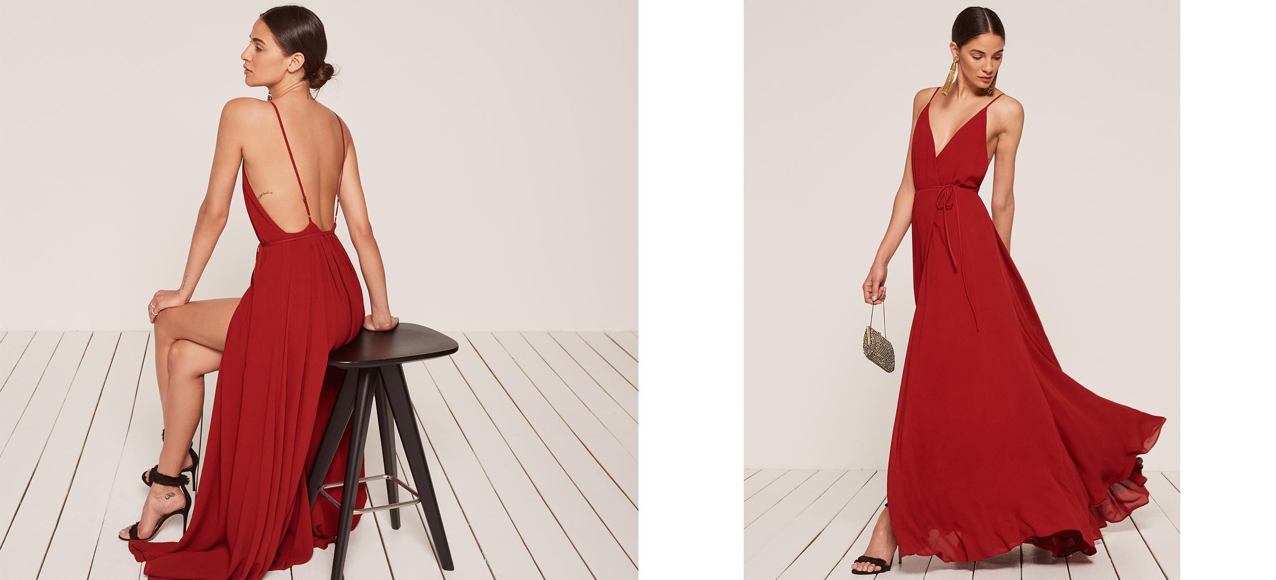 8be6fa717c3a76 For when you pretend to try to catch the bouquet. This is an open back,  wrap dress with a high slit and low v neckline.