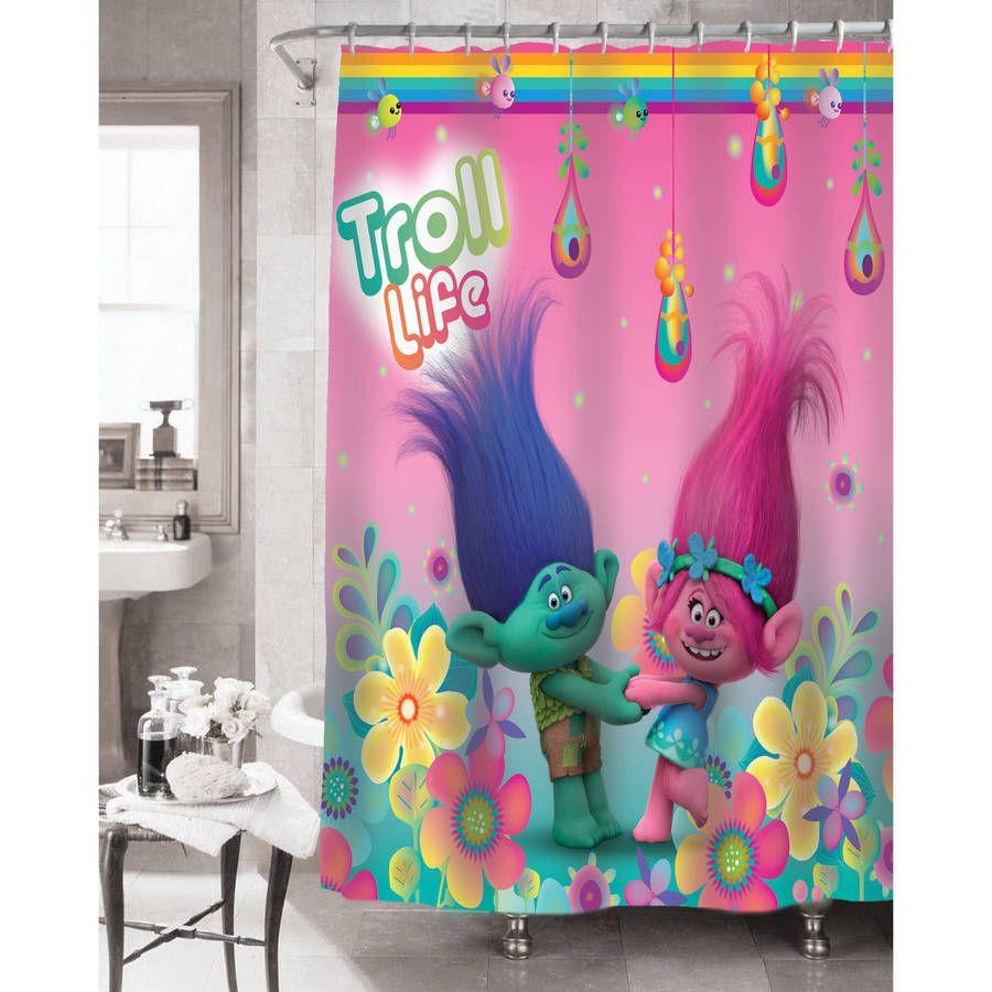 Trolls Hugfest Shower Curtain - fabric curtain 100% polyester ...