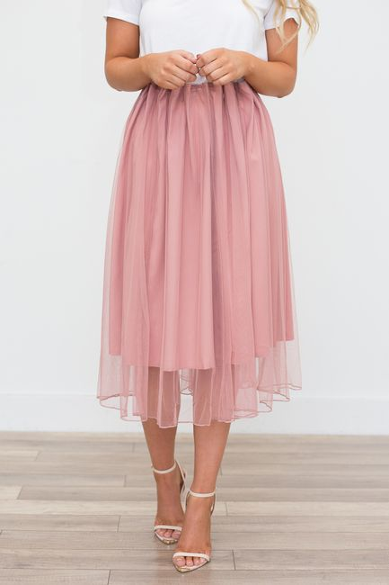200f8b5b0e Shop our Tulle Midi Skirt - Mauve. Pairs perfectly with a white top and  classy nude heels. Free shipping on all US orders!