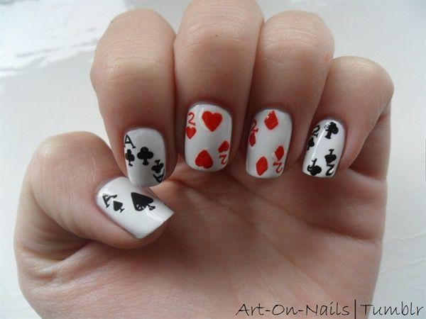 Playing Card Nails Nail Art