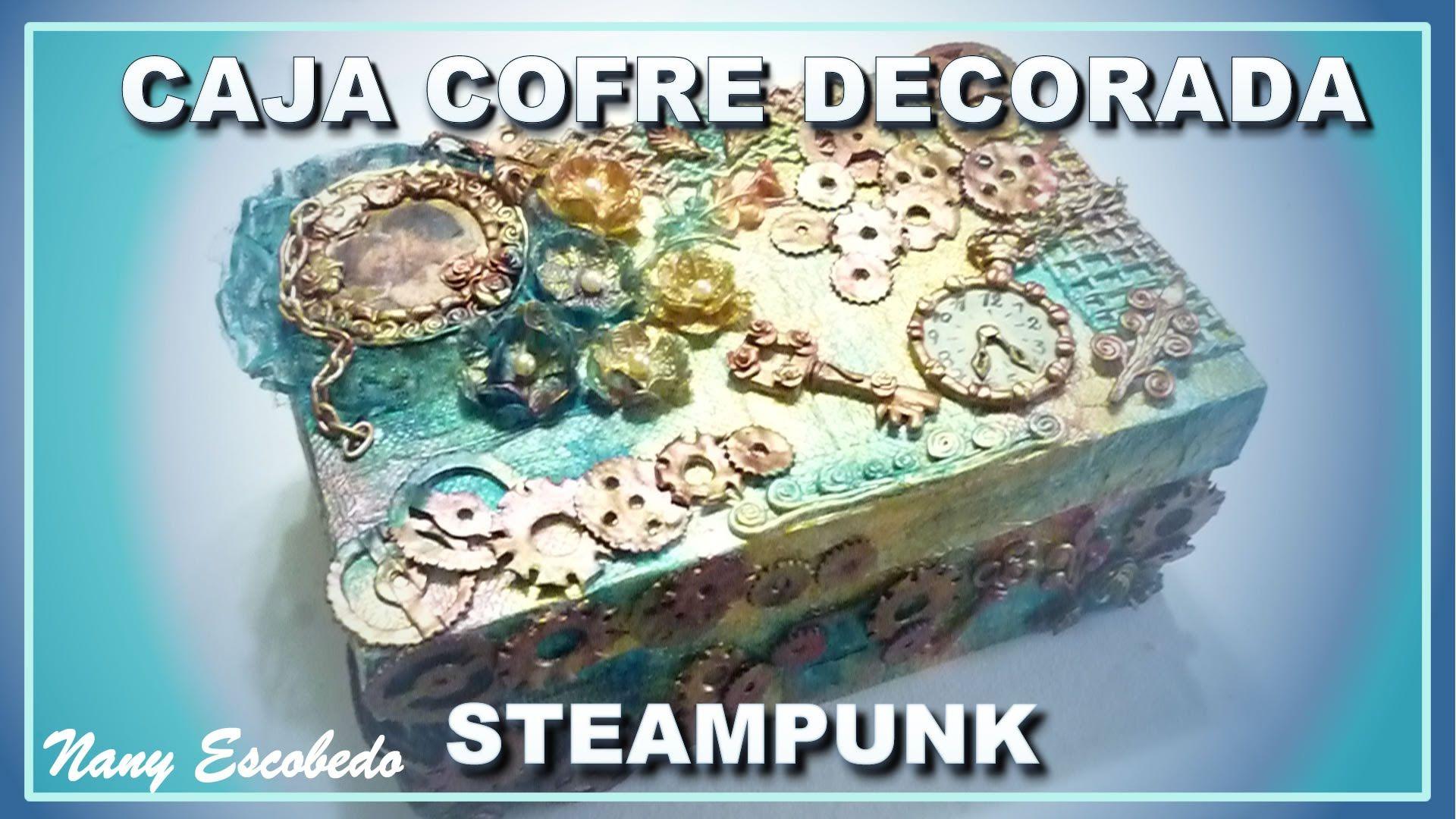Caja cofre decorada con la t cnica steampunk - Manualidades pintar caja metal ...