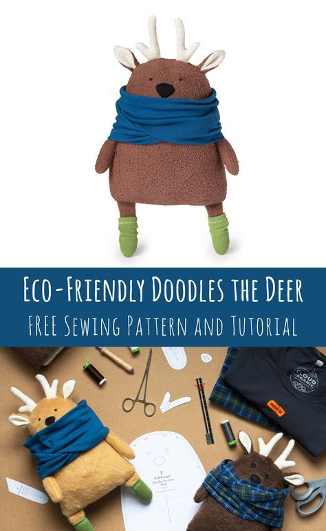 Doodles the Deer Free Sewing Pattern and Tutorial with Eco-Friendly Options #stuffedtoyspatterns