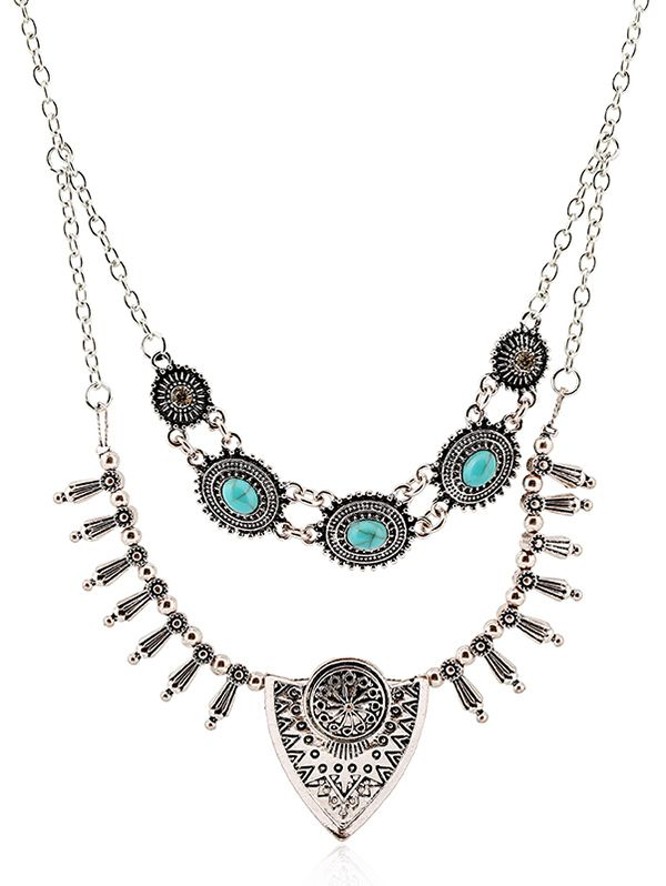 Faux Turquoise Rhinestone Engraved Floral Necklace #jewelry, #women, #men, #hats, #watches, #belts