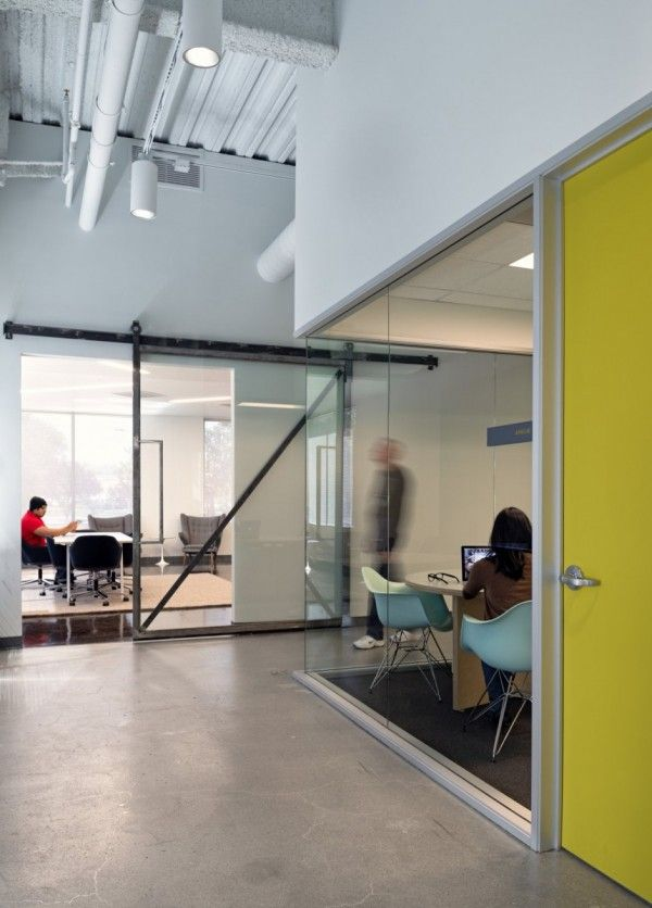 Glass Wall Offices Meeting Rooms Concrete Floor Glass Sliding Door Yellow  Door High Ceilings Exposed Services