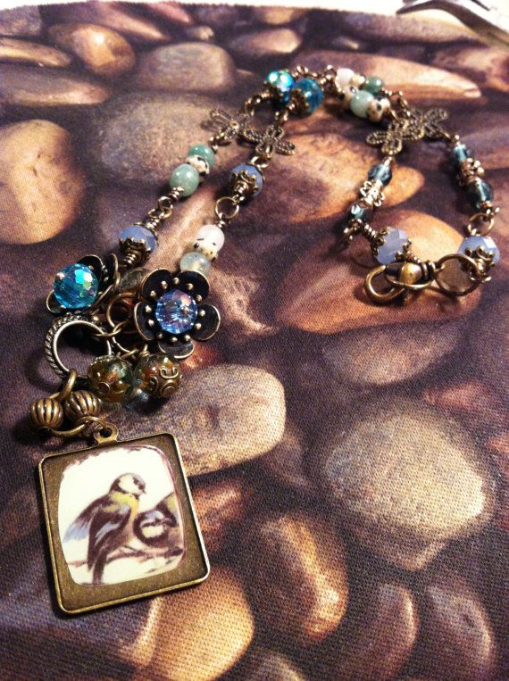 Blue Bird Necklace by SallyPeas on Etsy, $18.00