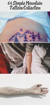 Photo of 64  Simple Mountain Tattoos Collection #mountaintattoo Simple Black Line Mountai…