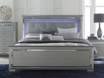 Best Homelegance Allura Modern Bed Silver With Touch Engaged 400 x 300