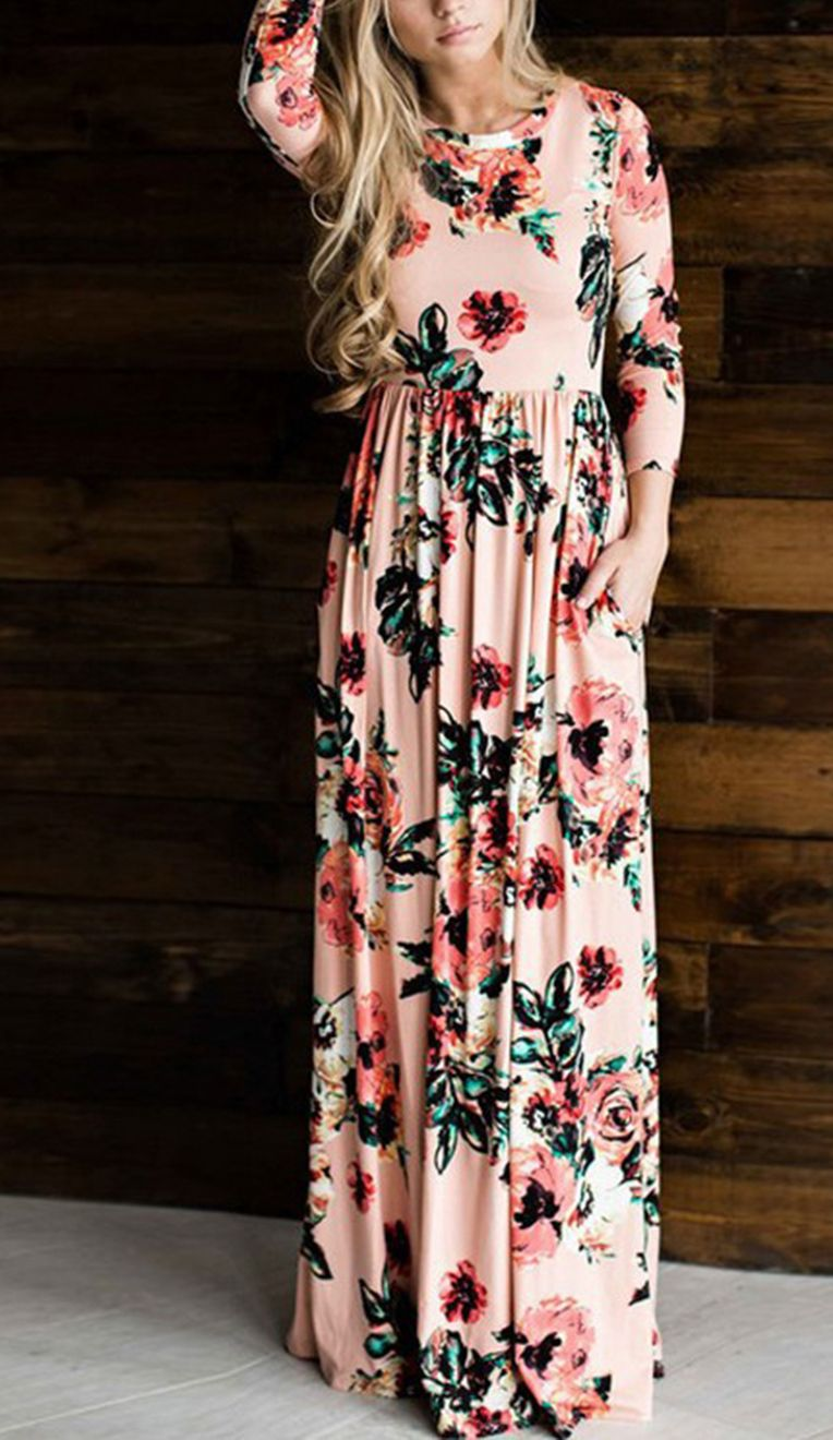 Casual plus size long sleeve floral printed maxi dress maxi