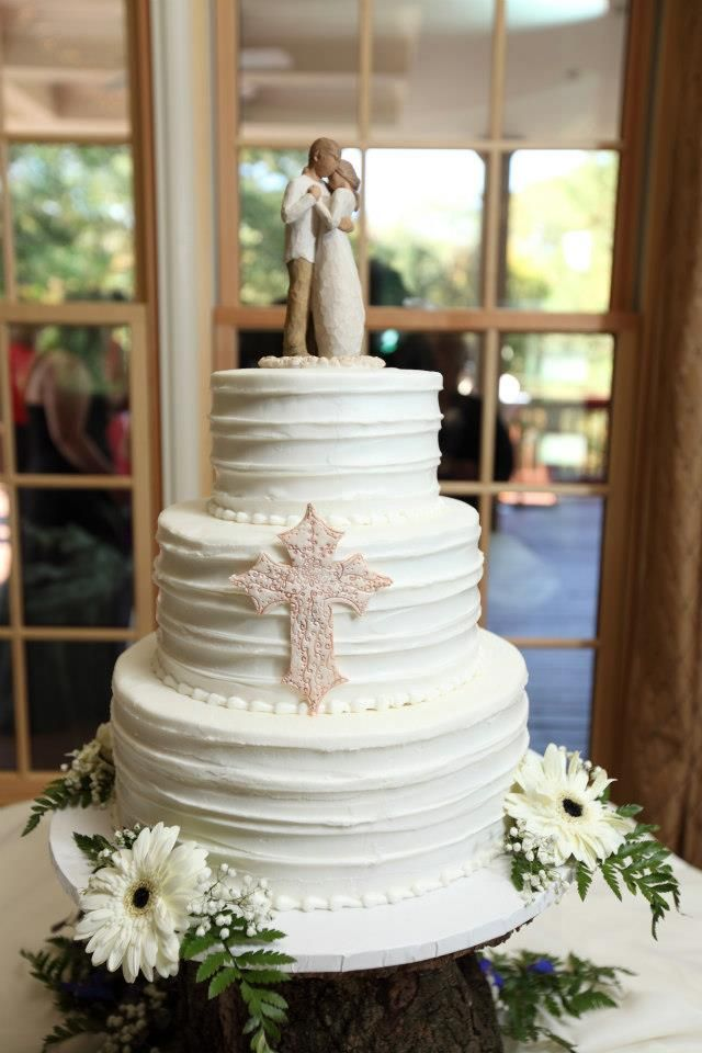 willow tree wedding cake topper white textured wedding cake with cross decoration and 27492