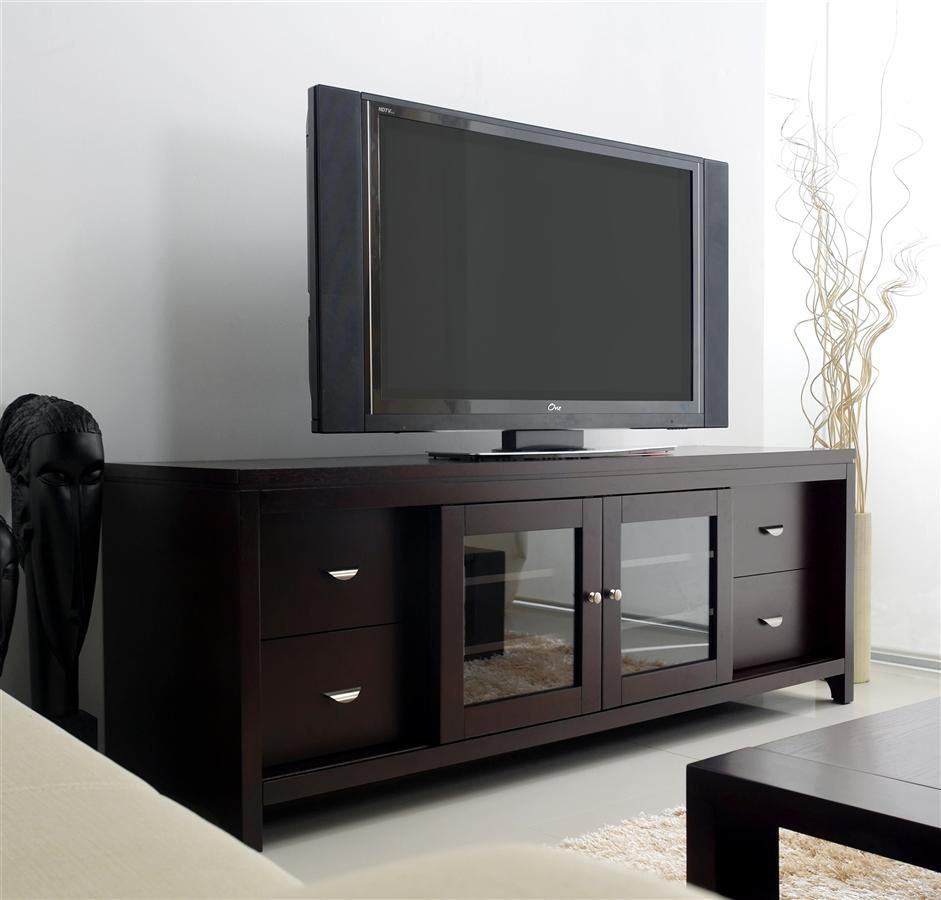 awesome home colonial living room furniture tv stand | Clarkston LCD TV Stand in Solid Oak w Cappuccino Finish ...