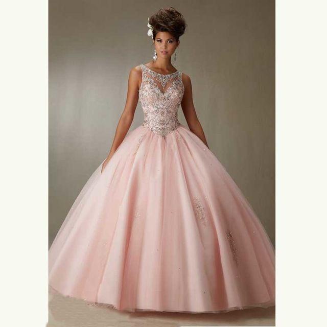 Nueva llegada 2017 rosa claro de lujo lentejuelas vestidos de ...