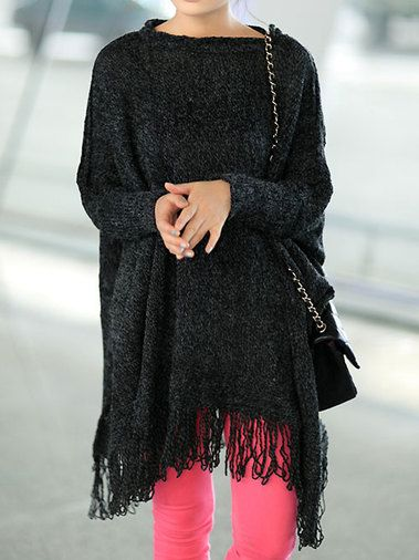 Stylish O-Neck Bat Sleeve Tassel Hem Loose Women Leisure Pullover Sweater on buytrends.com