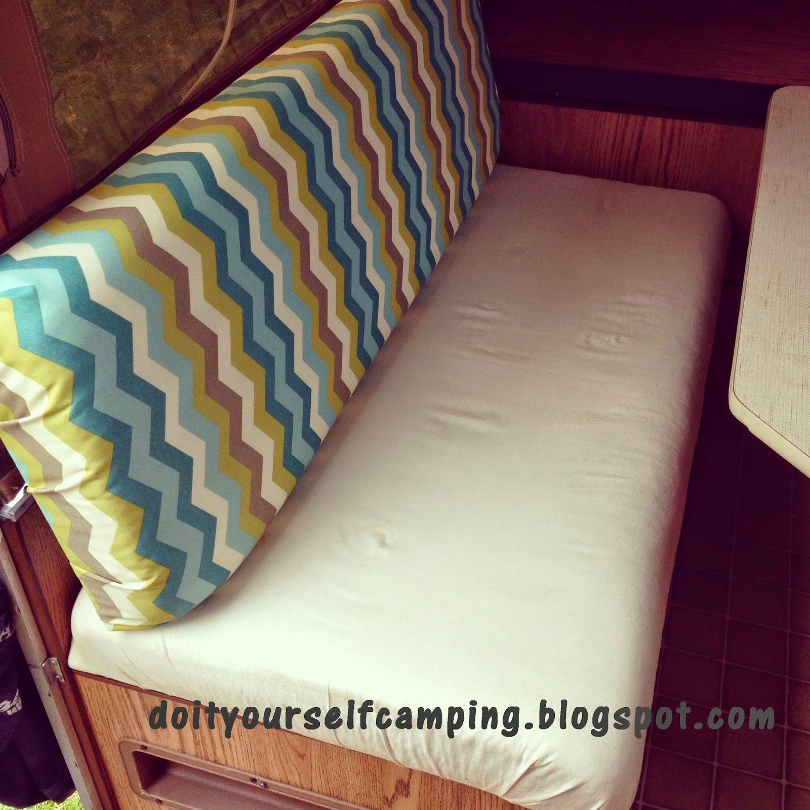 Do It Yourself Camping - Learn how to make fabulous redone cushions for your camper the cheapest and easiest way! You'll love it!! doityourselfcamping.blogspot.com
