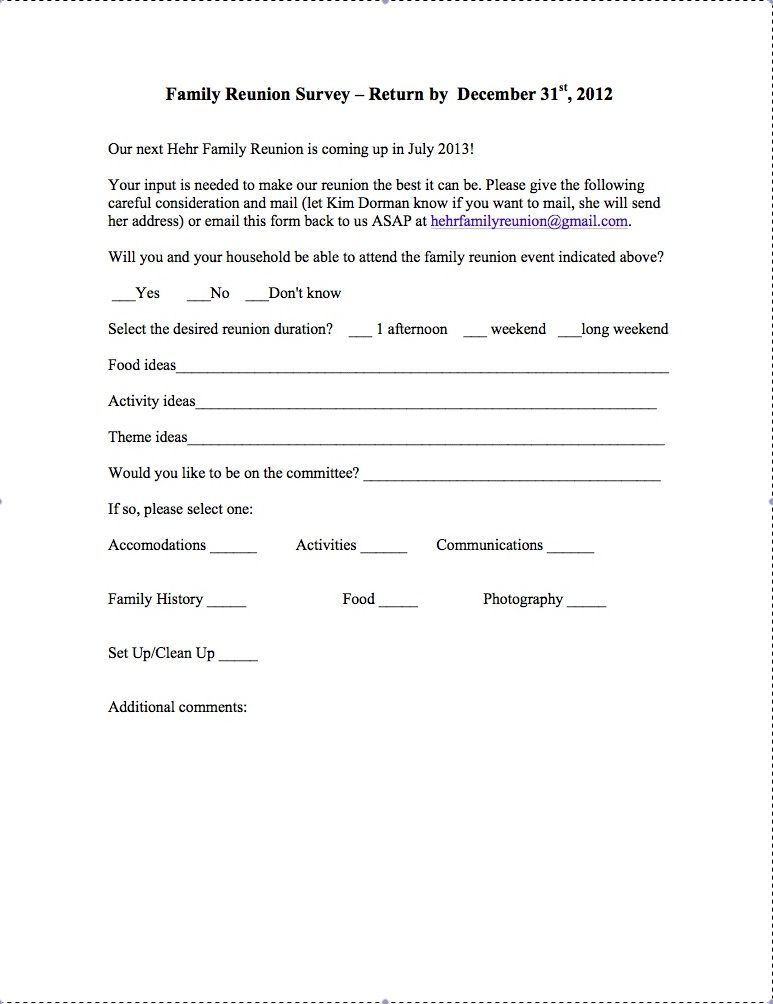 survey for family reunion - Google Search FAMILY REUNION IDEAS - example of survey form