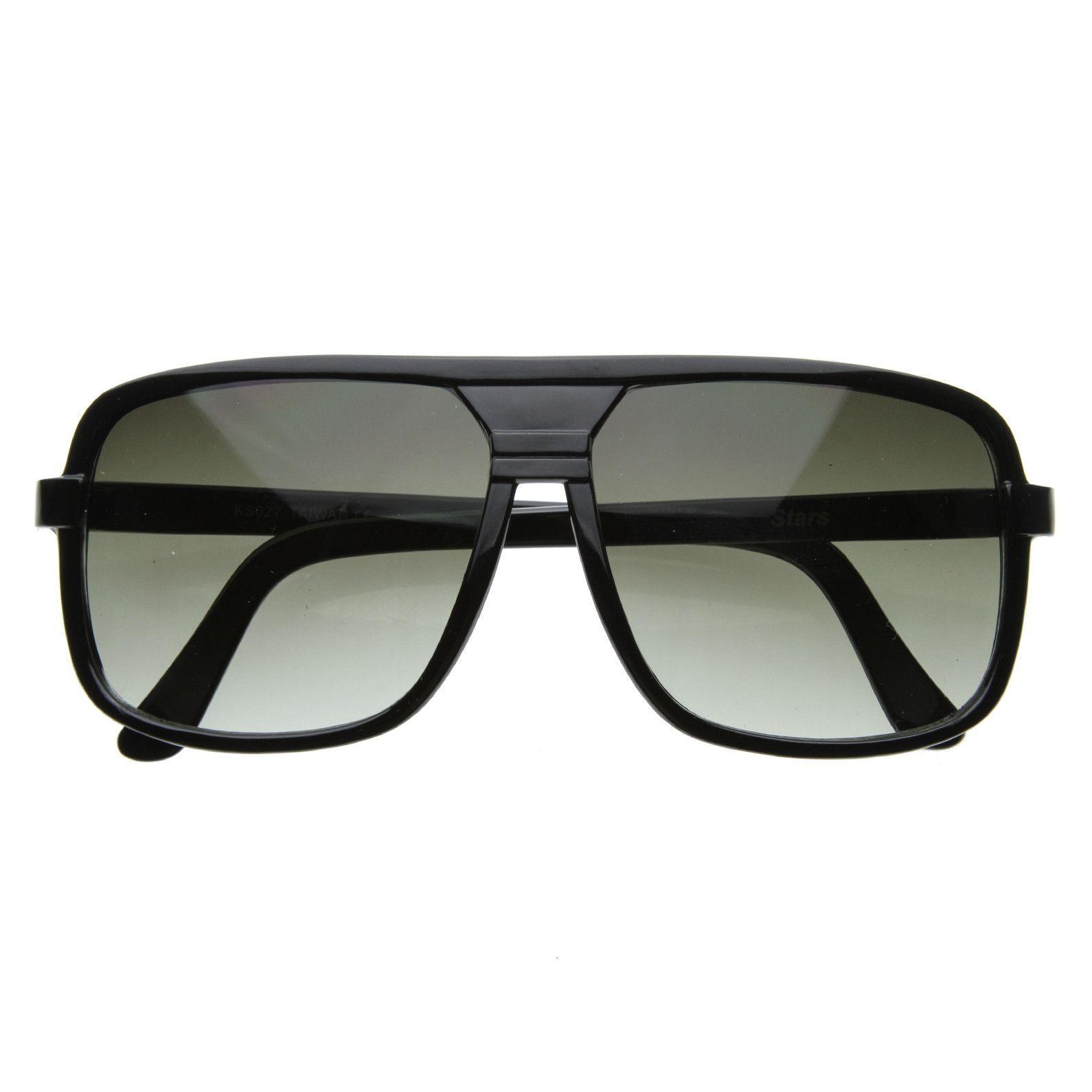 2b358e1e73 Mens Retro Disco Square Flat Top Aviator Sunglasses 8022