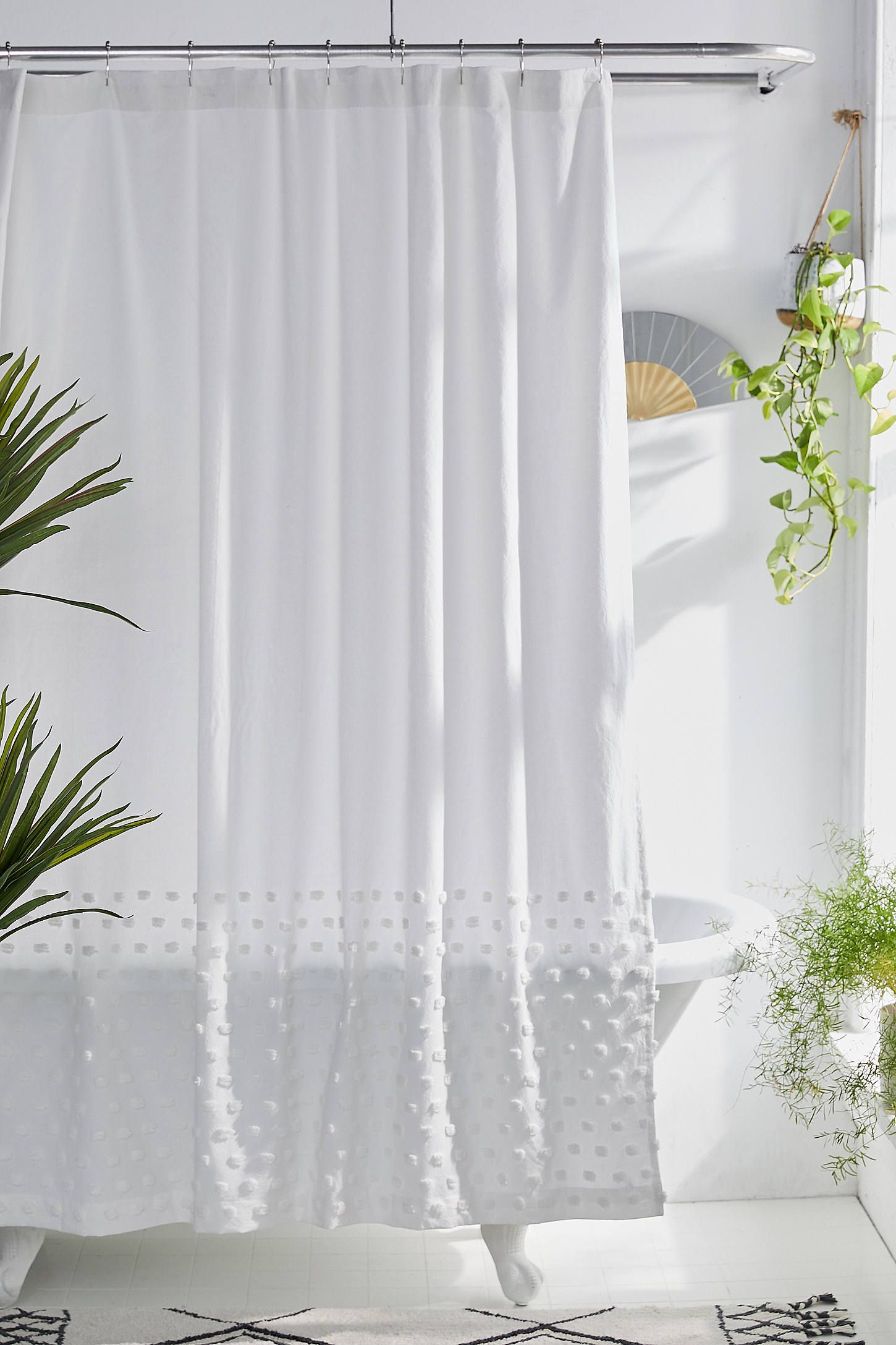 Tufted Dot Shower Curtain White Shower Curtain Shower Curtain