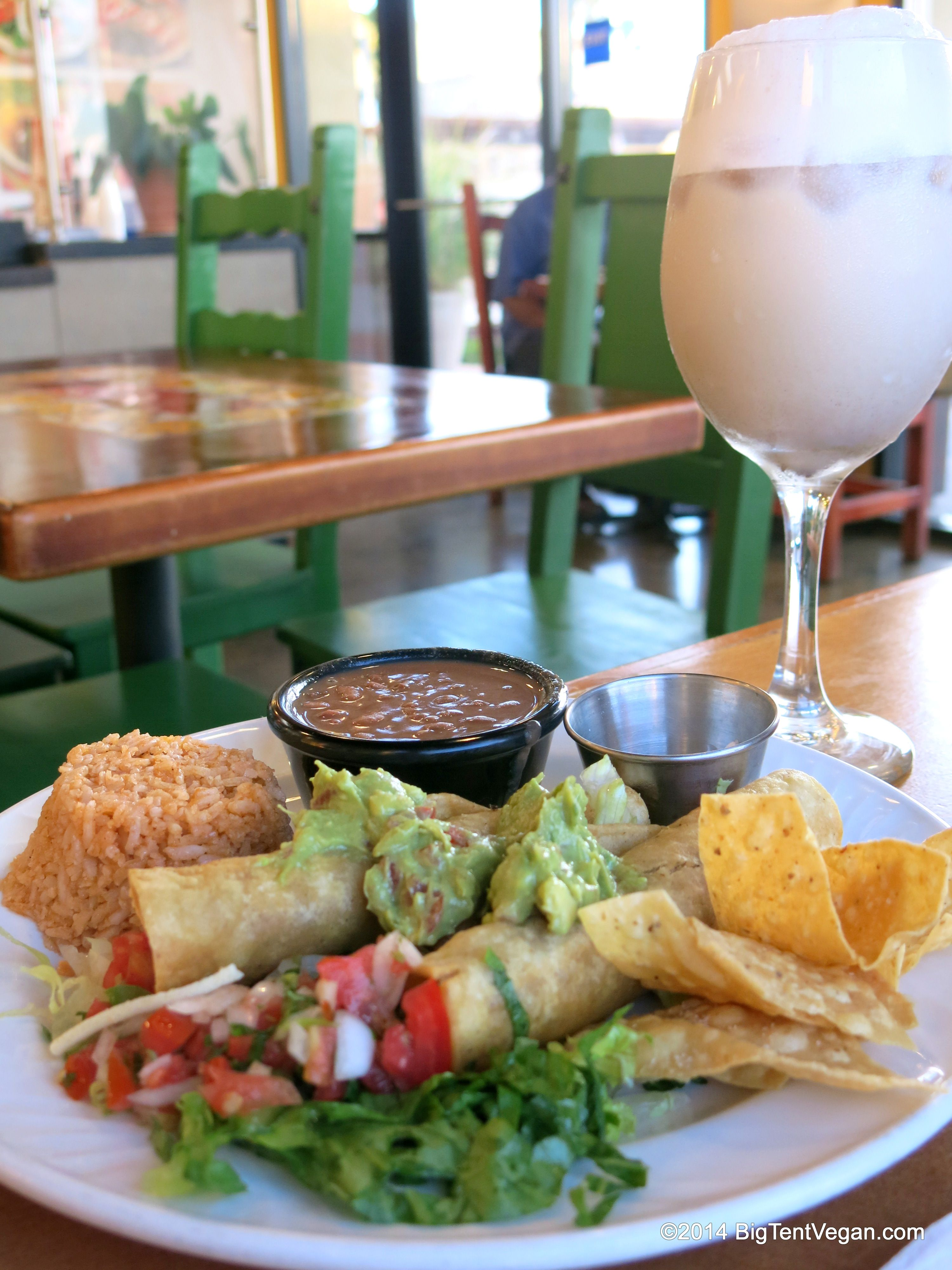 Rice Salsa Guacamole Tofutti Sour Dream And Chips Plus Vegan Horchata Blended Cinnamon Milk Drink Tacos Cancun Santa Ana Ca
