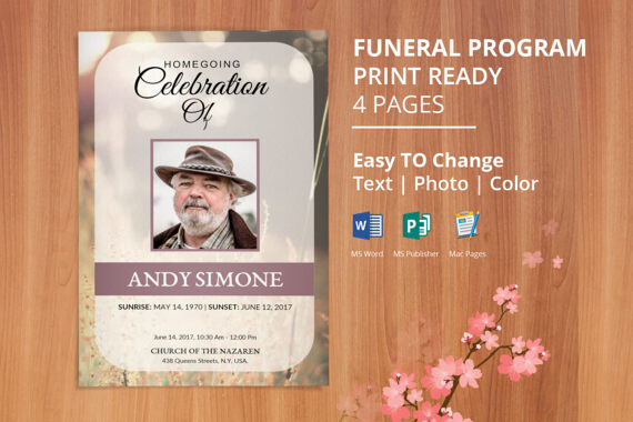 Printable Funeral Program Template, Memorial Service Program - funeral program template microsoft