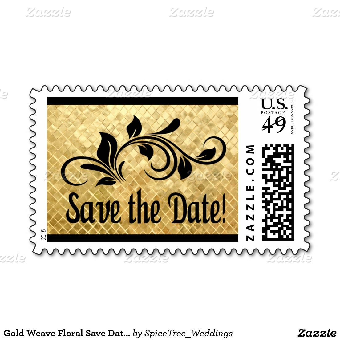 Gold Weave Floral Save Date Postage Floral Gold And Weddings