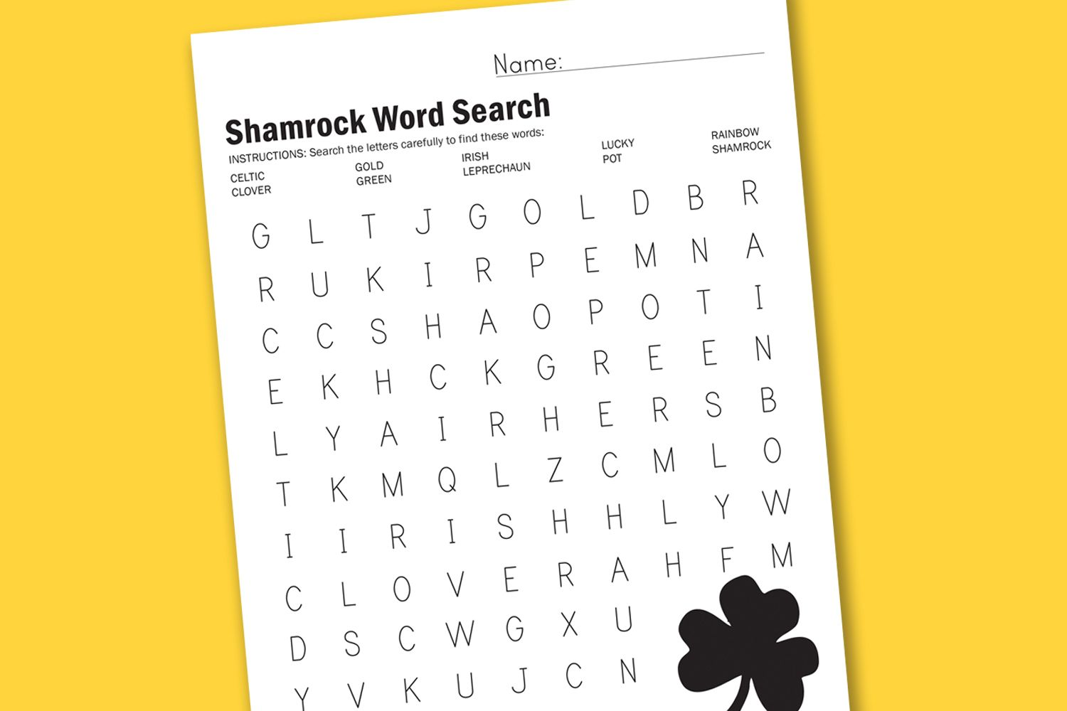 Shamrock Word Search With Images