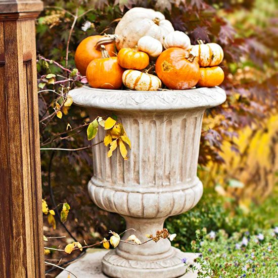 Pumpkin Planter. Pumpkins In Various Colors And Sizes Make A Beautiful Fall  Decoration When Piled