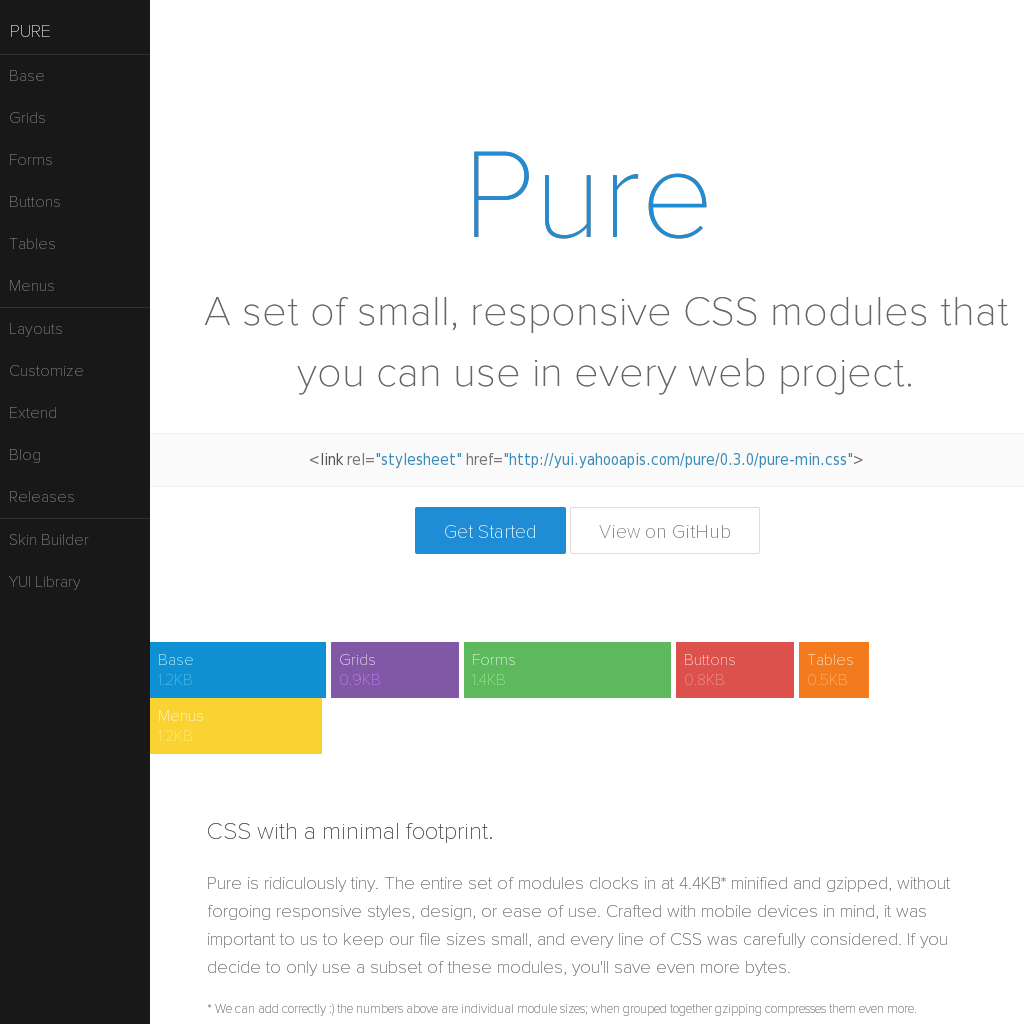 Pure Ready Made Css And Html Modules Http Purecss Io Pure Products Web Design Web Project