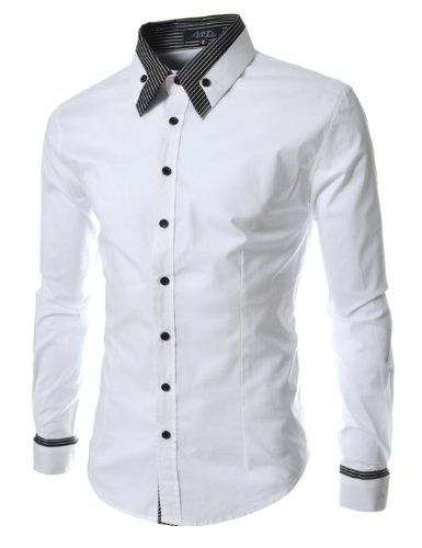 TheLees Mens long double collar cuff slim dress shirts White ...