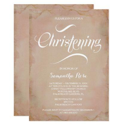 girl christening invitation vintage pink calligraphy gifts custom