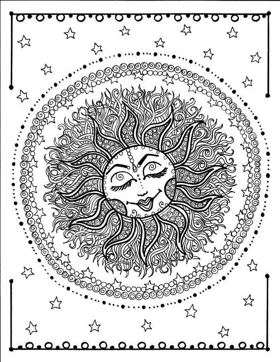 Sun Mandala Digital Coloring Page Instant Download Zen Relax Adult