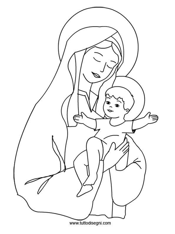 Disegni Da Colorare Religiosi.Immagine Maria Con Gesu Da Colorare Tuttodisegni Com Disegni