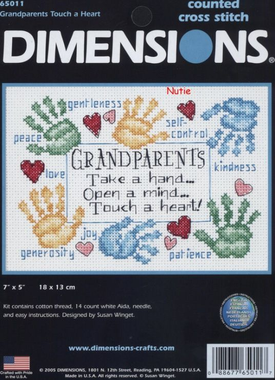 14 Count White Aida Dimensions Grandparents Touch a Heart Counted Cross Stitch Kit 7 x 5