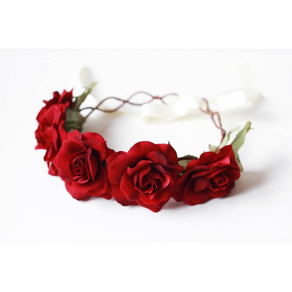 red rose crown // romantic wedding headpiece, bridal hair wreath,... ($60) ❤ liked on Polyvore #crownheadband