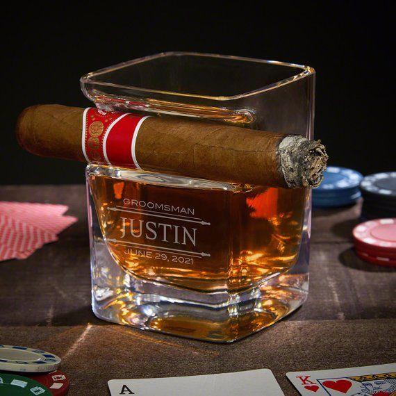 Photo of Stanford Engraved Whiskey Glass Cigar Holder – Whiskey Lover Gifts, Cigar Aficionados, Engraved Rocks Glass, Bourbon Glass, Cigar Holder