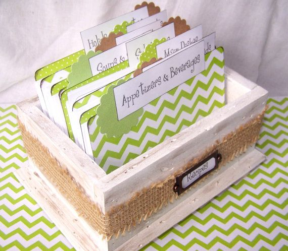 LOVE the mix of modern recipe cards with the rustic shabby chic box!  Recipe Box  Lime Green Chevron Dividers Recipe by peachykeenday, $48.00