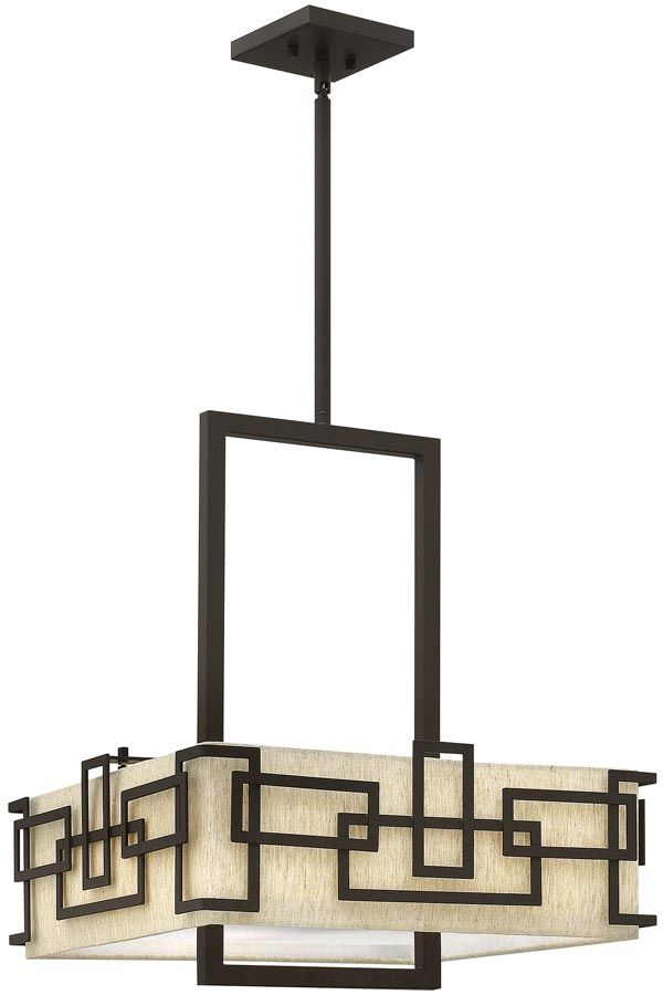 Nexus 5 Light Oil Rubbed Bronze Chandelier with Fabric Shades
