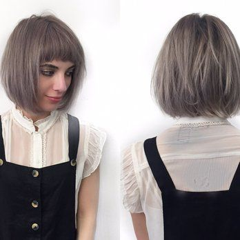 Short bob with razored layers and soft undercut. Cute short mod bangs and  lavender violet
