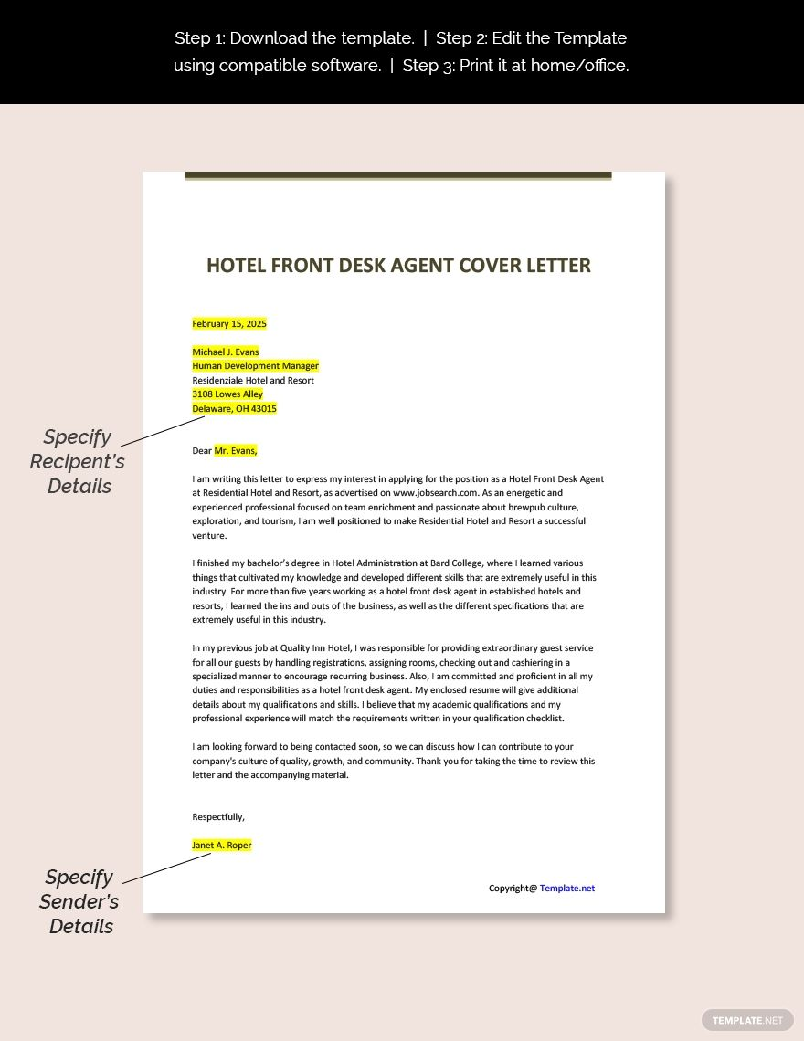 Free hotel front desk agent cover letter word apple