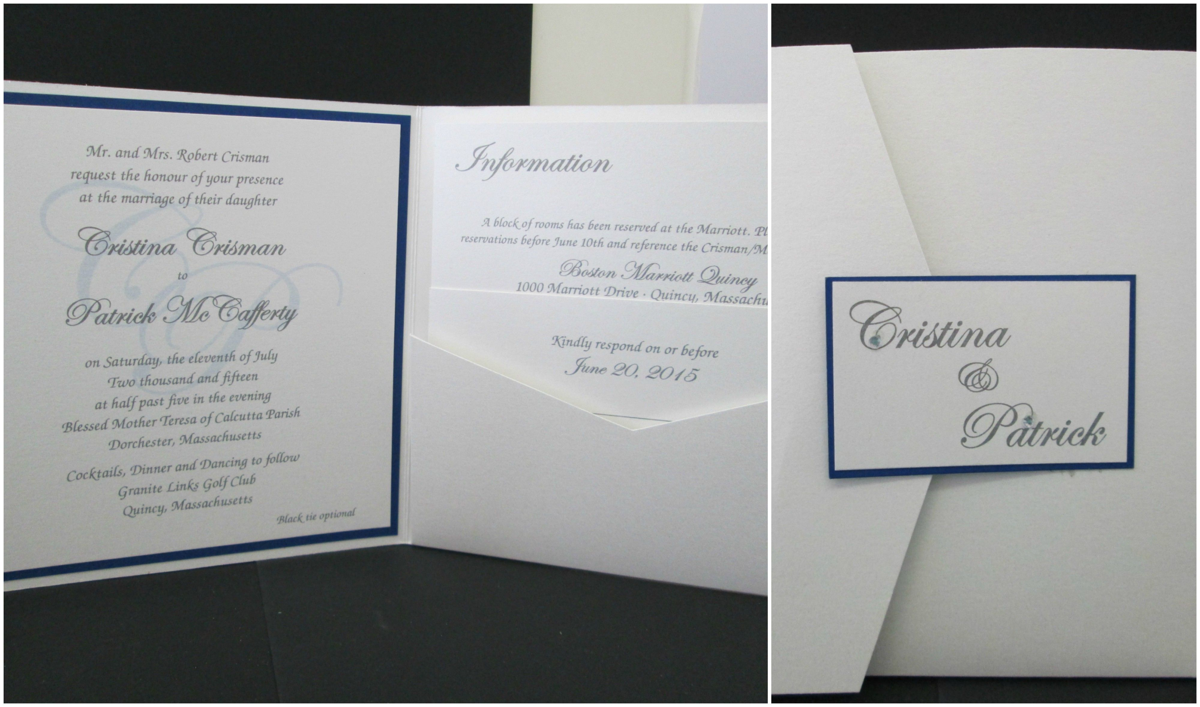 Pocket Fold Wedding Invitations With Compass Watermark Wedding