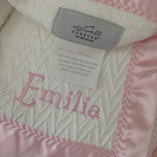 7fa6f1c00e The Gabriel Forever Blanket with pink satin trim and matching name  monogram. Uniquely personalized heirloom baby gift. Made in USA. Support  adoption.