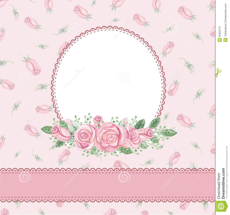 Vintage Floral Invitation Card Watercolor Rose Stock Vector Image 55553115 Floral Invitation Decoupage Wedding Flower Phone Wallpaper