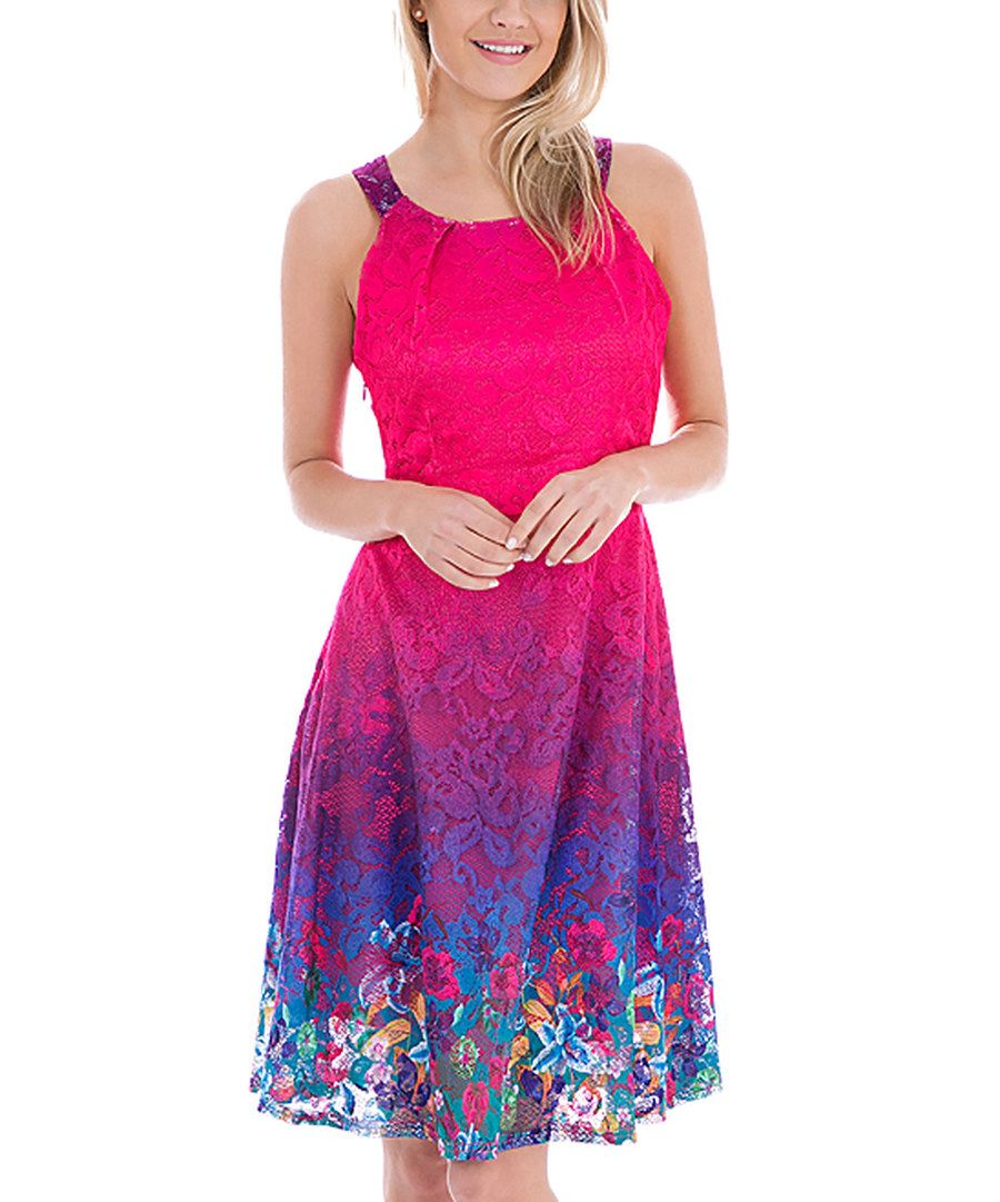 Look at this Ace Fashions Fuchsia Ombré LaceOverlay Fit