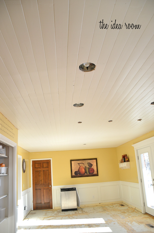 How To Diy A Wood Plank Ceiling Wood Plank Ceiling Remodel
