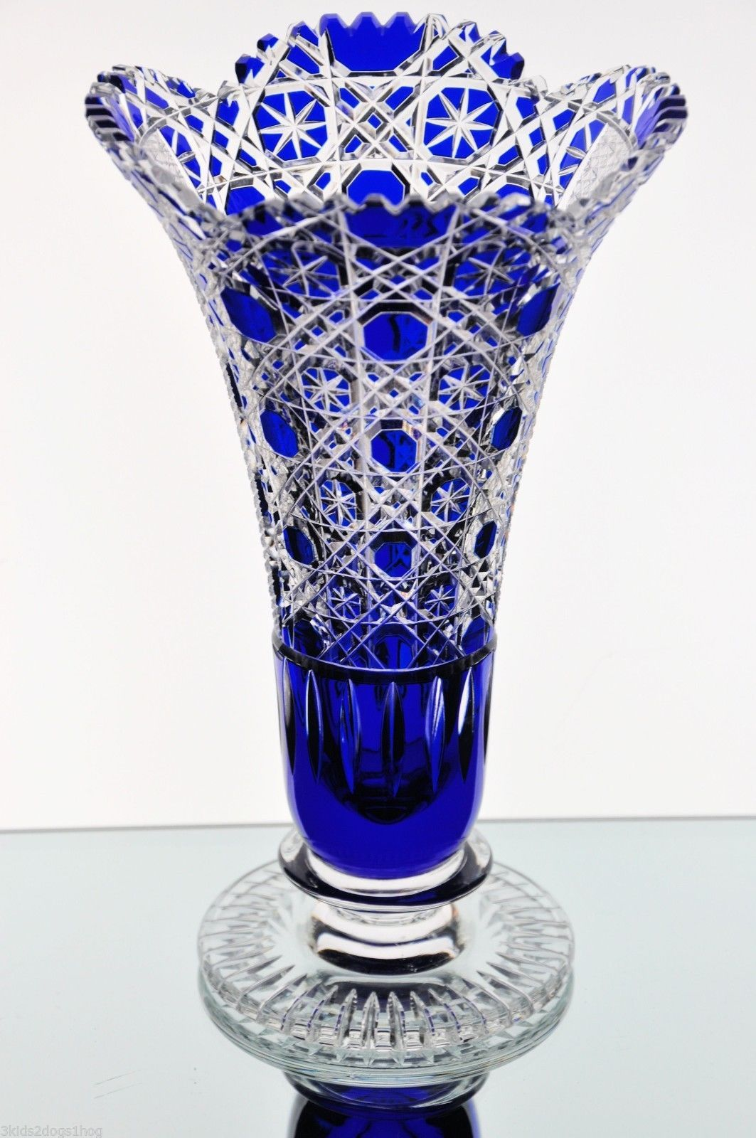 German heavily cut to clear crystal cobalt vase 95 tall 5 34 explore blue glass vase cobalt glass and more floridaeventfo Image collections