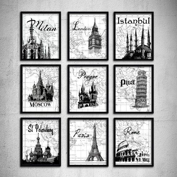 Wedding gift typography art travel poster set 9 prints london paris wedding gift typography art travel poster set 9 prints london paris moscow pisa landmark world map gumiabroncs Gallery