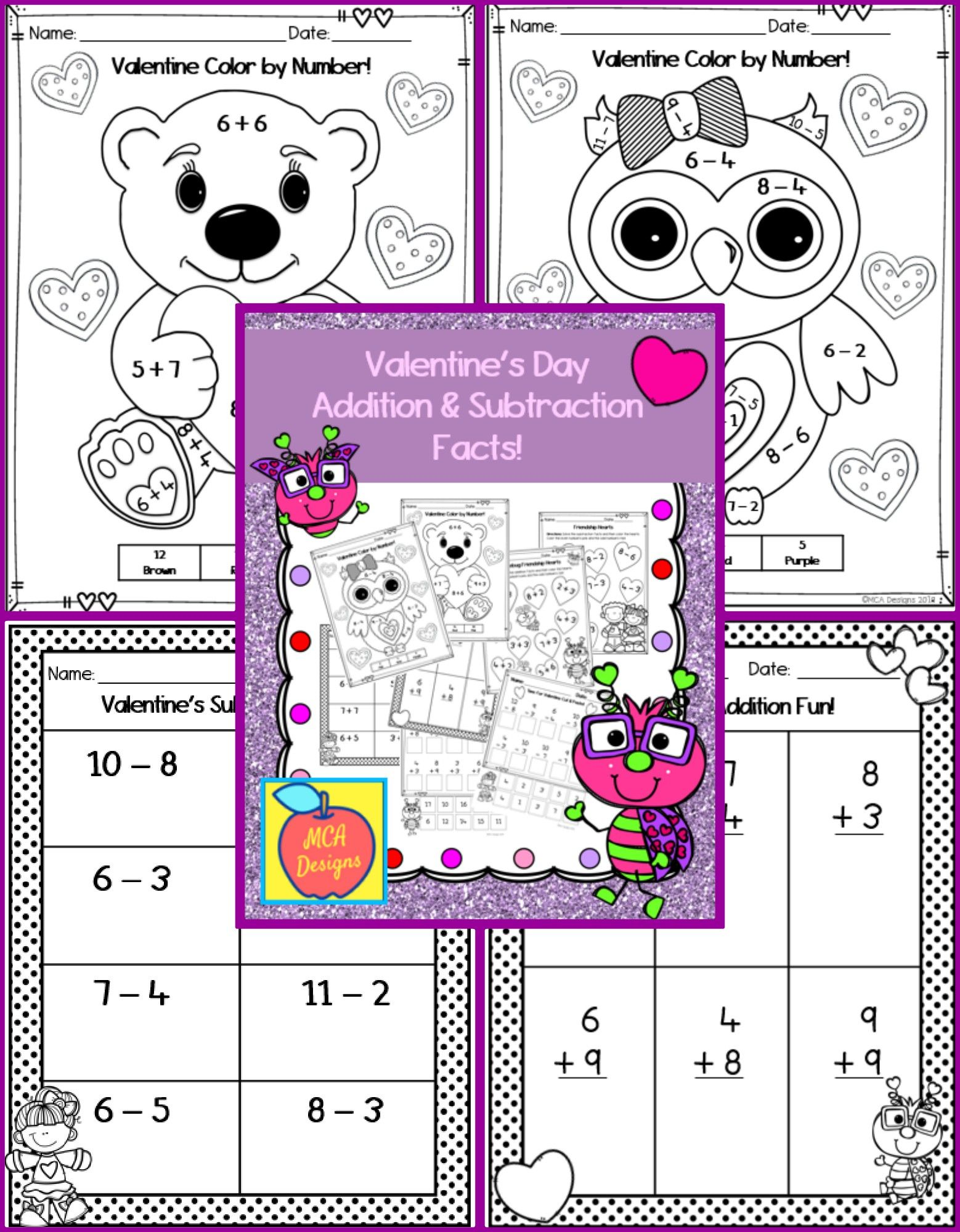 Valentine S Day Addition Subtraction Addition And Subtraction Math Lesson Plans Math Activities [ 2000 x 1558 Pixel ]