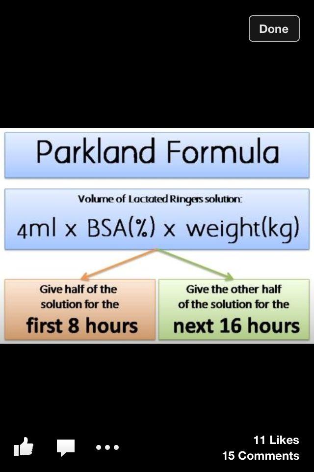Parkland formula | Nursing School | Pinterest | Parkland formula