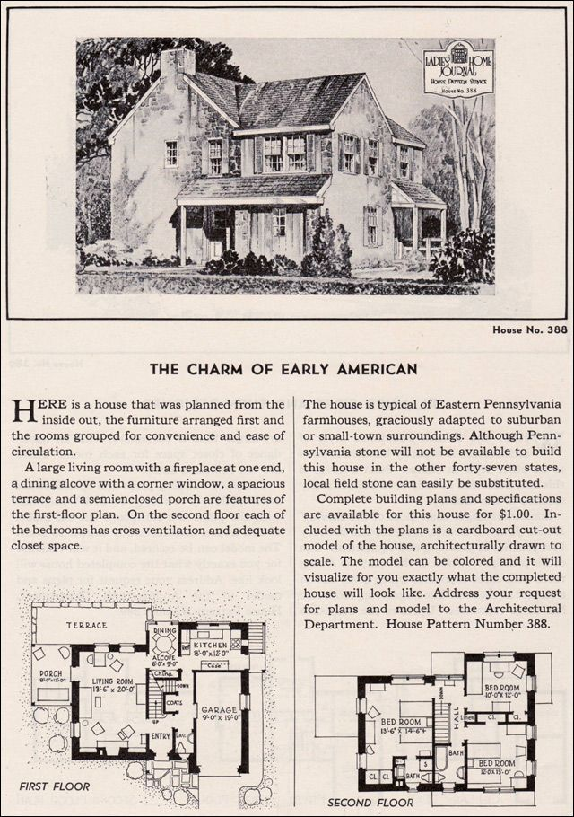 House Plan The Charm Of Early American Ladies Home Journal Design No 388 1935 Typical Eastern Pennsyl Stone House Plans Vintage House Plans House Plans