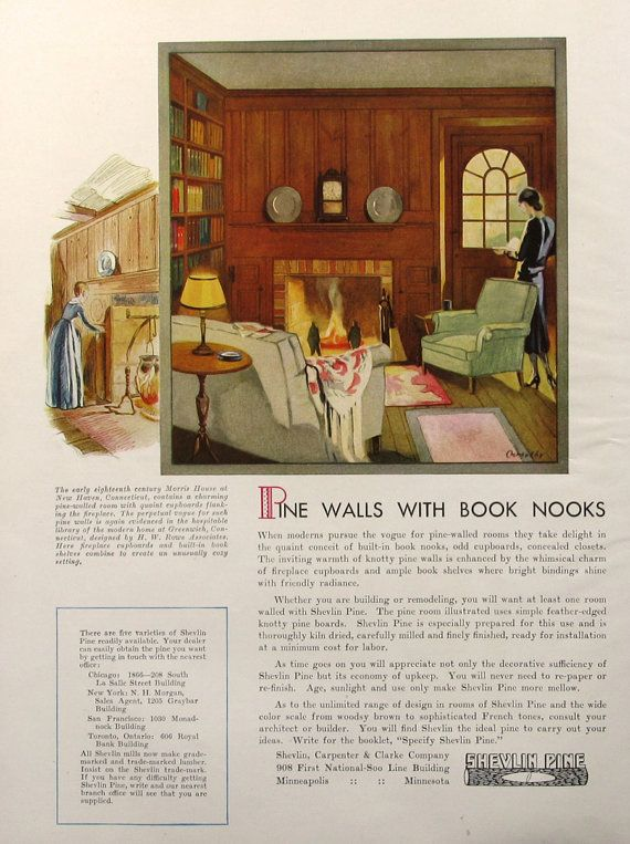 Wood Paneled Library: 1930 Shevlin Knotty Pine Advertisement 1930s By