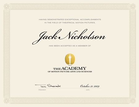 Academy of Motion Picture Arts and Sciences® membership - sample membership certificate