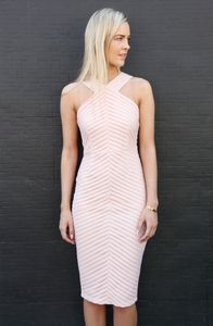 7878f2ef70b8 Blush Pink Racer Neck Textured Laser Cut Fitted Bodycon Midi Dress ...